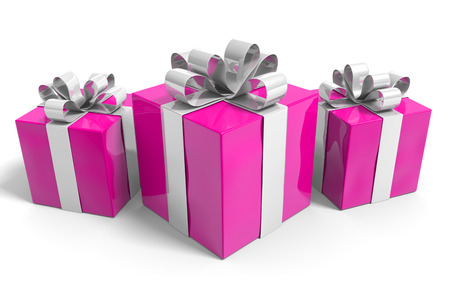 three gift boxes: Valentines Day gift boxes neatly wrapped with shiny ribbons