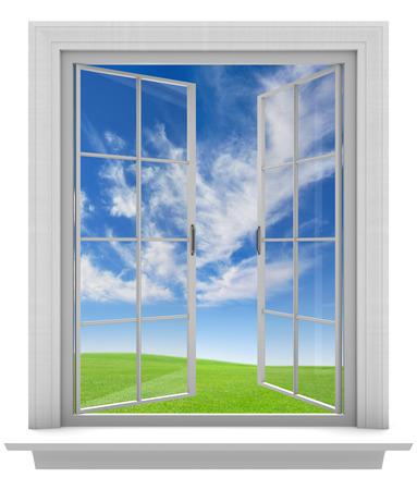 Aprire la finestra permettendo all'aria fresca di primavera in casa Archivio Fotografico - 36435236