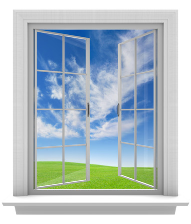 window panes: Open window allowing fresh spring air into the home