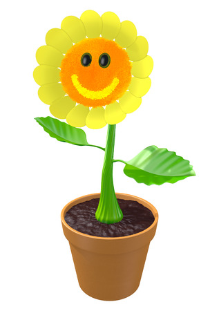green face: Happy 3D flower with a smiling face growing in a garden pot Stock Photo