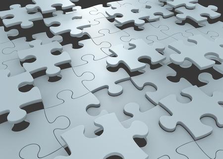 퍼즐 조각 전략 개념은 도전 용액을 형성하기 위해 연결