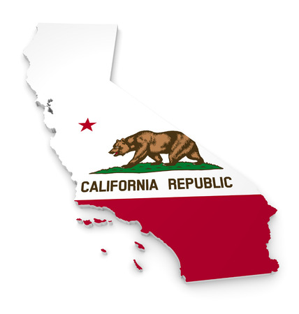 3D geographic outline map of California with the state flag Banque d'images