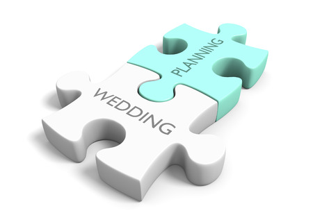 planning: Wedding day planning and preparation puzzle concept Stock Photo