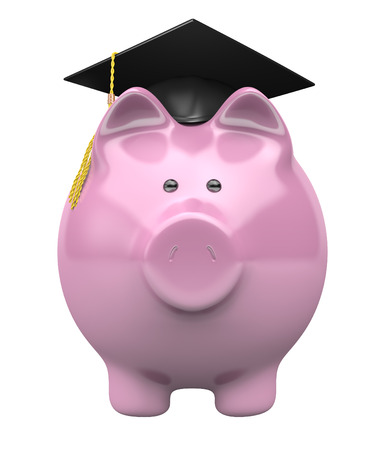 college fund savings: Piggy bank wearing a graduation cap, savings fund for college education