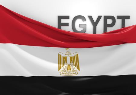 bandera de egipto: Bandera de Egipto y el nombre del país Foto de archivo