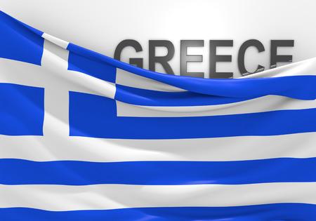 Griechenland-Flagge und Ländernamen Standard-Bild - 37056143