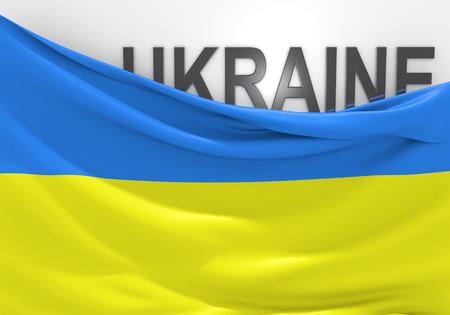 ukraine flag: Ukraine flag and country name Stock Photo