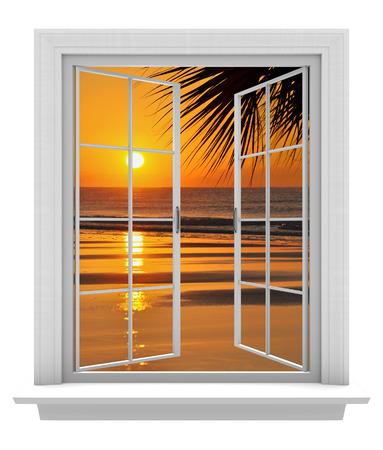 열대 해변 전망과 오렌지 일몰이 열린 창