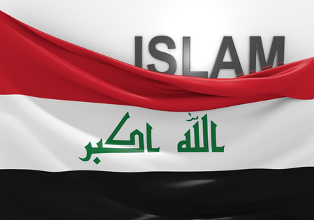 iraqi: Islam in Iraq concept, with Iraqi flag and text