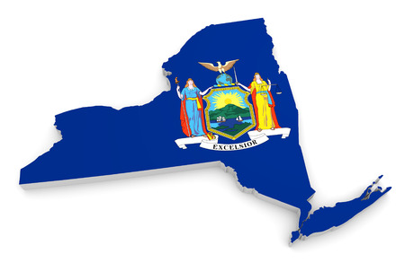 3D geographic outline map of New York with the state flag Imagens