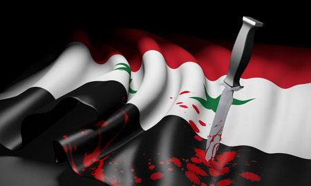 middle east crisis: Syria flag with a bloody knife, symbolizing the extremist jihad threat from ISIS