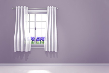 windowsill: Lilac colored room interior with spring irises flowering in the window