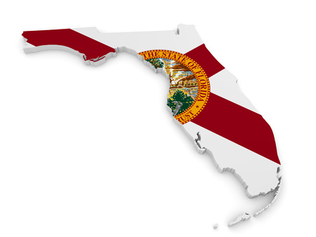 sunshine state: Geographic border map and flag of Florida, The Sunshine State