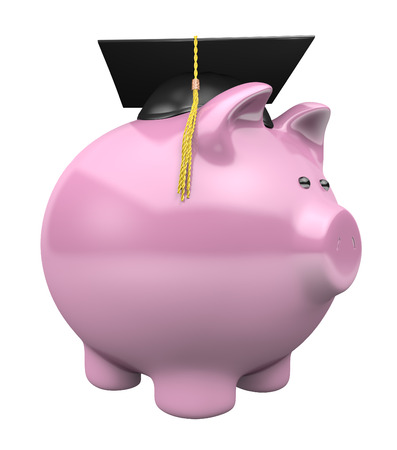 college fund savings: Piggy bank savings fund for college, wearing a graduation cap