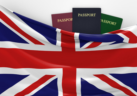overseas visa: Travel and tourism in the United Kingdom, with assorted passports Stock Photo