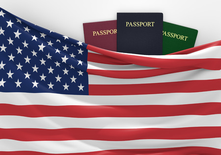 overseas visa: Travel and tourism in the United States, with assorted passports