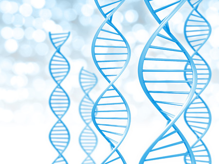 Biotechnology and genetic data concept of helix shaped DNA strings
