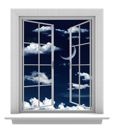 Open window with a beautiful crescent moon and clouds in a night sky