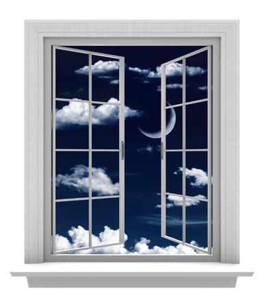 ventana abierta: Ventana abierta con una hermosa luna creciente y las nubes en un cielo nocturno