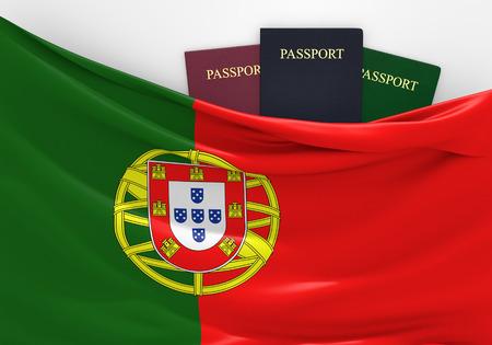 passeport: Voyage et tourisme au Portugal, avec des passeports assortis Banque d'images