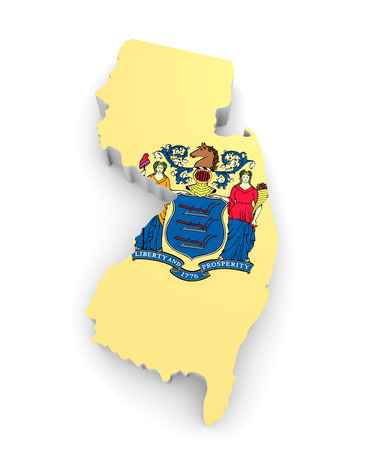 jersey: Geographic border map and flag of New Jersey, The Garden State Stock Photo