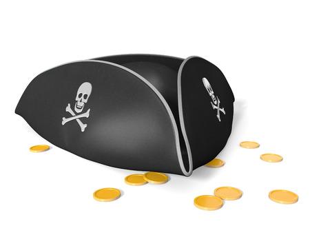 sombrero pirata: Sombrero de pirata tricornio con cráneo y huesos, sentado en un tesoro de oro