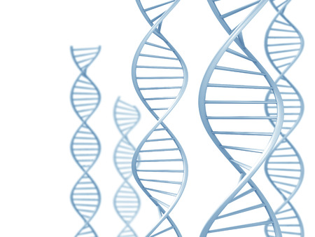 replication: Genetic research concept of DNA double helix spirals