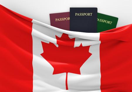 旅行や各種のパスポートを持つ、カナダの観光 写真素材