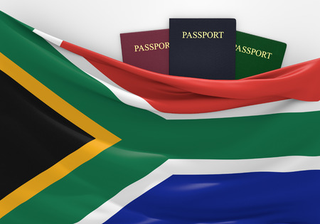 Travel and tourism in South Africa, with assorted passports photo
