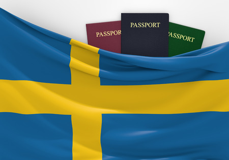 Travel and tourism in Sweden, with assorted passports Stock fotó