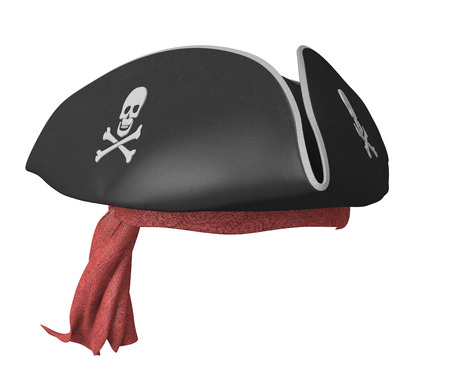 red bandana: Pirate tricorn hat with skulls and a red bandana