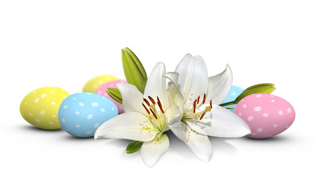 easter lily: Easter lily flowers and pastel eggs painted with spots
