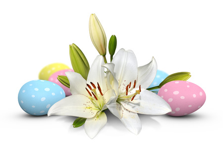 easter lily: Beautiful white Easter lily flowers and polka dot eggs in blue, pink, and yellow