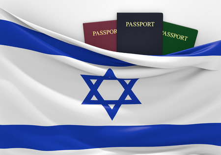 israel passport: Travel and tourism in Israel, with assorted passports Stock Photo