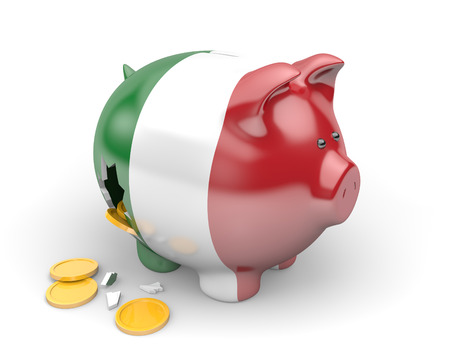 savings problems: Italy economy and finance concept for unemployment and national debt crisis