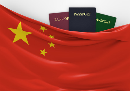 Travel and tourism in China, with assorted passports Фото со стока