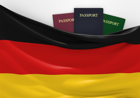 customs official: Travel and tourism in Germany, with assorted passports