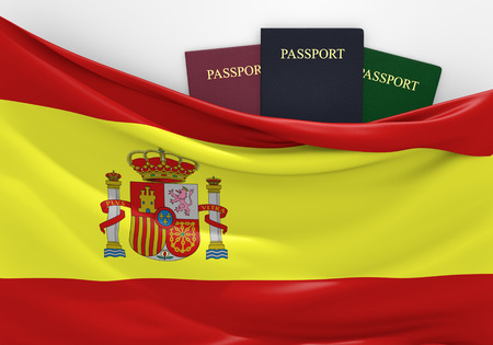Travel and tourism in Spain, with assorted passports Imagens