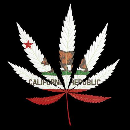Marihuana of cannabis, blad beschilderd met de staat vlag van Californië