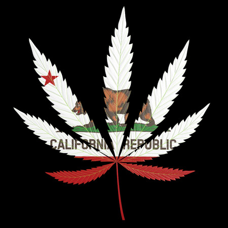 california state: Marijuana, or cannabis, leaf painted with the California state flag
