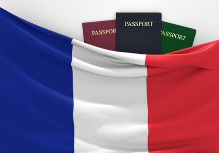 Travel and tourism in France, with assorted passports