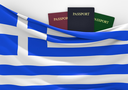 customs official: Travel and tourism in Greece, with assorted passports Stock Photo