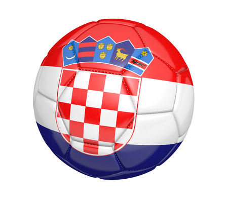 kickball: Soccer ball, or football, with the country flag of Croatia