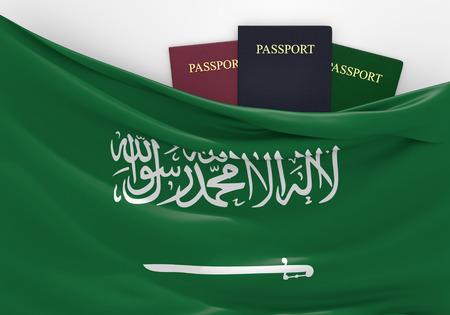 Reizen en toerisme in Saoedi-Arabië, met diverse paspoorten Stockfoto - 38912714