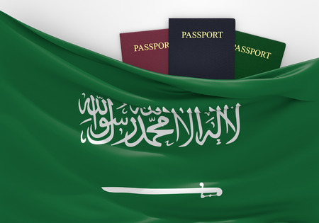 Travel and tourism in Saudi Arabia, with assorted passports