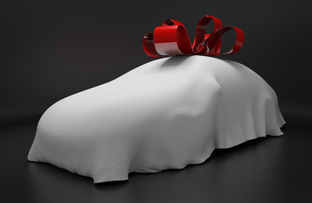 red ribbon bow: Auto concept of a new covered sports car topped with a red ribbon as a gift