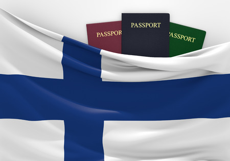 customs official: Travel and tourism in Finland, with assorted passports