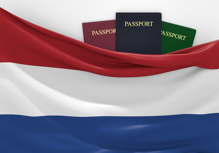 overseas visa: Travel and tourism in Netherlands, with assorted passports