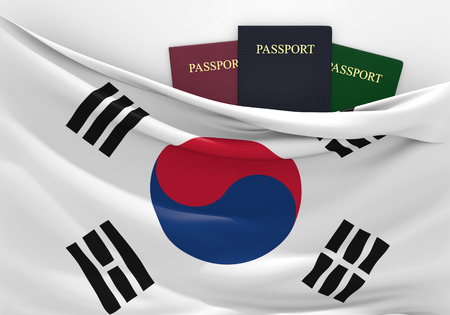Travel and tourism in South Korea, with assorted passports