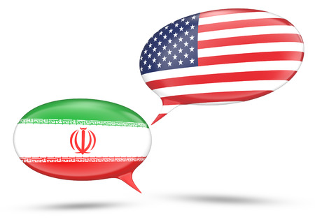 iranian: Iran - United States relations concept with speech bubbles